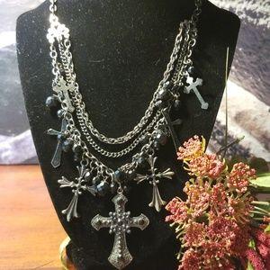 Silvertone Crosses Necklace